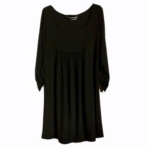 Norma Kamali Black Ruched Long Sleeve Dress